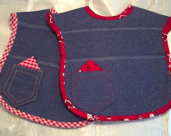 Country-Western Style Stitchable Denim Bibs