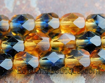 6mm two-tone Czech Fire Polished Glass Faceted Round Beads in Topaz/Montana Blue -25
