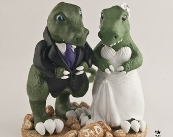 T-Rex Dinosaur Wedding Cake Topper Custom Bride and Groom
