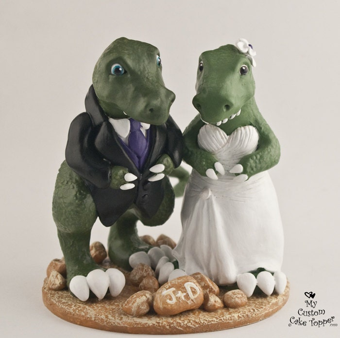 Dinosaur Cake Accessories : T-Rex Dinosaur Wedding Cake Topper Custom Bride and Groom