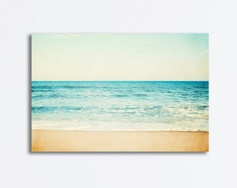 "Ocean Canvas Art - large beach sea photography seascape aqua blue waves teal nautical canvas gallery wrap wall art 24x36, 20x30 ""Carefree"""