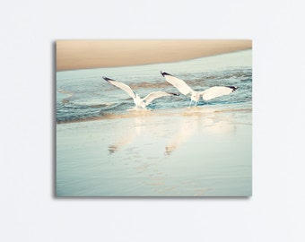 "Coastal Canvas Photography - seagull beach light blue white beige gallery wrap birds print wrapped canvas pale wall, 11x14 ""Journey's End"""