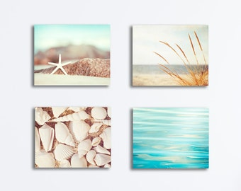 Coastal Canvas Set, four 4 aqua white light beige cream brown beach photography gallery wraps nautical water seashell seaside wall art set