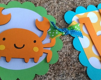 Boys whale, crab, Under the Sea Birthday banner in bright colors: orange aqua, yellow, green.  Beach theme banner