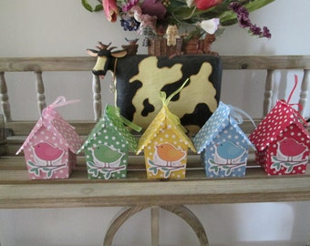 Rainbow Bird House Favor Boxes Set of 10
