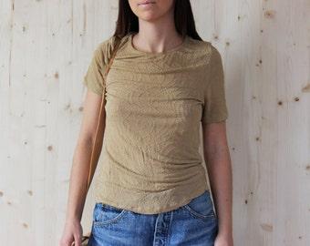 Vintage 80s nude top Max Mara brownT-shirt Tee Top