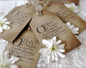 """Vintage Inspired Christmas Gift Tags - Set of 5 - """"Oh, Holy Night"""" Stamped Gift Tags - Primitive Christmas - Paper Ephemera"""