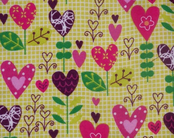 Pink & Purples Hearts! Flannel by the yard