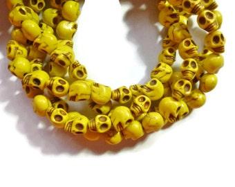 Howlite Skull - Yellow - Skulls - 10mm x 8mm - 40 beads - Full Strand