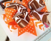 Football Team bow with optional headband -- choose your team colors -- large bow in polka dots and chevron with team colors