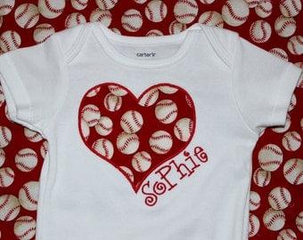 Personalized Girls Baseball LOVE Tshirt or Onesie