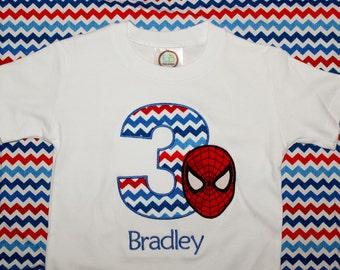 Personalized Spiderman Birthday Onesie or Tshirt