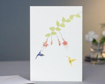 Fushcia & Two Hummingbirds Card