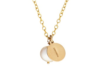 """Hand Stamped """"I"""" Initial Necklace in Freshwater Pearl & 14k Gold Fill *Free Shipping*"""