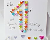 1st Wedding Anniversary Card, Handmade Personalised First Anniversary Card, Personalized Wife / Husband, Our 1st Wedding Anniversary BHAN01