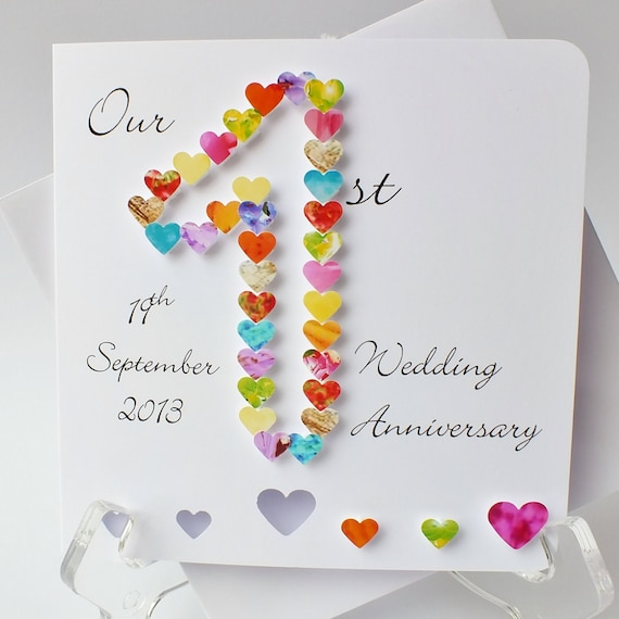 1st wedding anniversary card handmade personalised first for Gift ideas for first wedding anniversary to wife