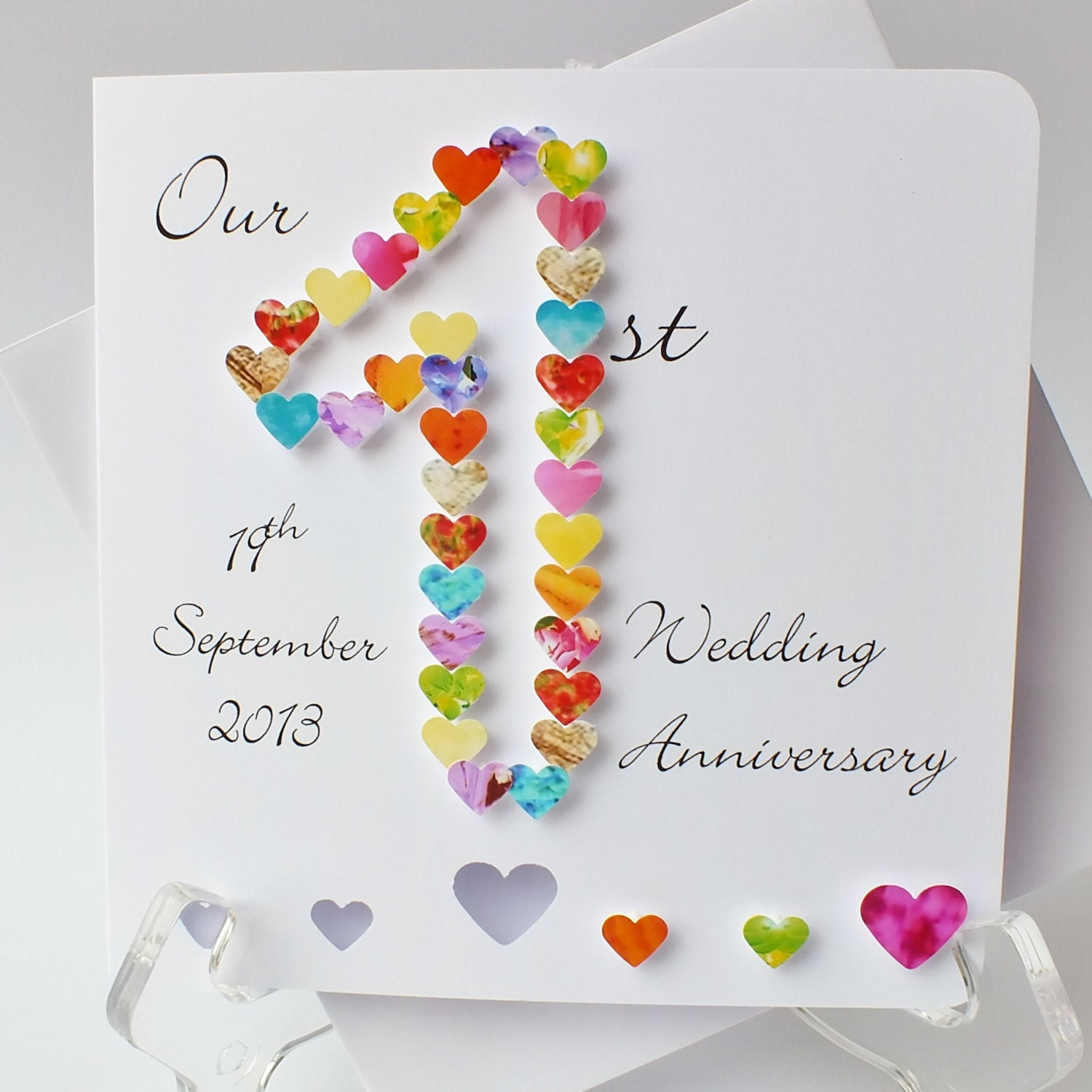 St wedding anniversary card handmade personalised first