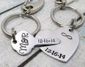 Personalized Couples Keychain - Key to my heart - Hand Stamped Keychains- Wedding Key Chains - Gift for Him Personalized Anniversary Gift