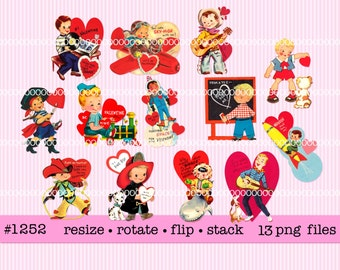Digital Clipart, instant download, Valentines, boys, teen boy rocket pirate fireman cowboy airplane train puppy dog  --13 PNG files  1252