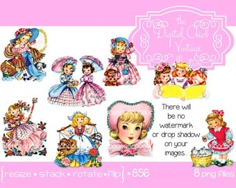 Digital Clipart, instant download, Vintage Birthday Girl Images Dutch girl dress-up puppies pretty dresses clip art printable PNG files 856