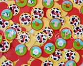 Down on the Farm Personalized Birthday Confetti in Red and Yellow