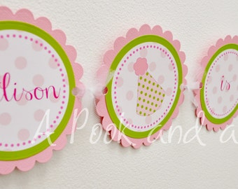 Polka Dot Party Hat Personalized High Chair Banner in Pink and Green First Birthday Decoration