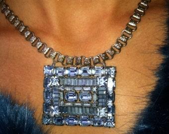 Blue Velvet - Stunning Vintage Brooch Necklace