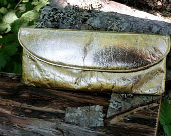 Metallic gold vintage clutch