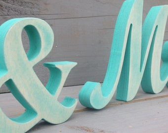 Nautical wedding light  blue Mr, &, Mrs, distressed sign, beach wedding, sweetheart table decor - DIY not painted, painted in any color