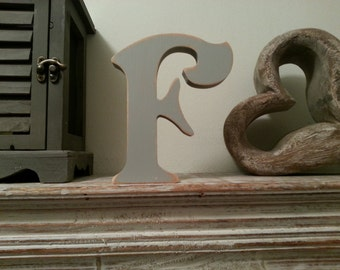 Freestanding Wooden Letter 'F' - Victorian Style - 25cm - various colours and finishes
