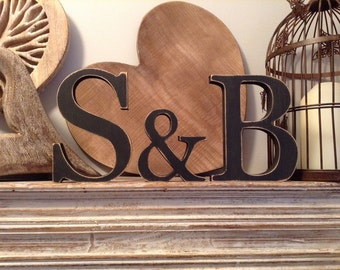 Wooden Wedding Letters - Set of 3 - Freestanding & Hand-painted, Photo Props, 20cm, 15cm