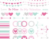 Valentine's Sale Clip Art Set- Sweet Hearts, Arrows, Banners & Embellishments - Mint Green Pink - 16 Designs - JPG and PNG Format - ID 227
