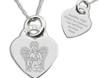 Guardian Angel Protect Me Sterling Silver Heart Necklace