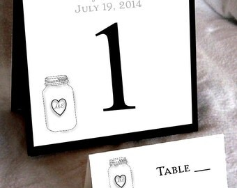 25 Mason Jar  Wedding Table Numbers and 250 place settings for reception tables