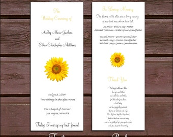 100 Sunflower Wedding Ceremony Programs