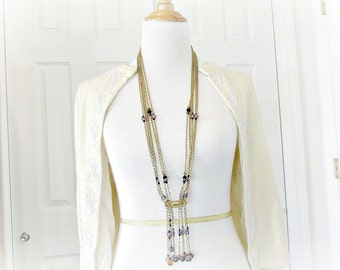 Vintage Long Gold Tassel Necklace, Designer LIZ Claiborne, Colorful Glass Bead Crystal Multi-Strand Chain Necklace, 1970s Statement Jewelry