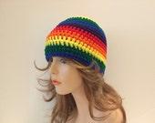 Crochet Rainbow Beanie Hat