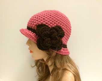 SALE Crochet Cloche Flapper 20s Style Hat - Country rose/ Esspresso