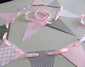 Baby shower decorations / Pink and Gray Chevron Stripes paper garland / Room Decor / Birthday Decor/ Photo Prop