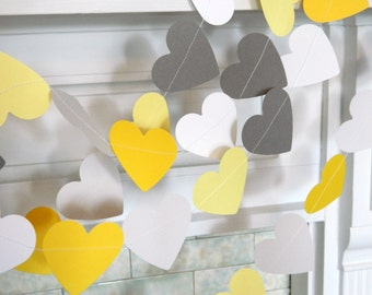 Yellow & Gray Paper Hearts / Gray and Yellow Wedding garland / yellow and gray Bridal Shower Decorations / heart garland pick your colors