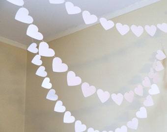Wedding Decorations - 10ft Paper Heart garland  - Wedding Garlands - Bridal Shower Decorations -You Pick the Color and size