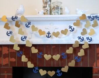 Nautical Wedding Garland -10ft Gold or Silver and Navy Nautical Garland- Beach Wedding Decorations- Gold Nautical Bridal Shower Decor-