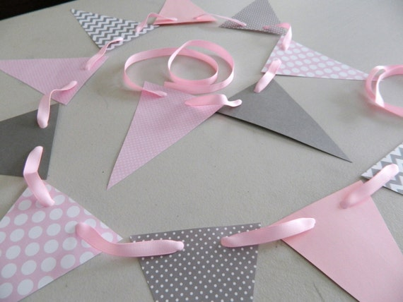 baby shower decorations pink and gray chevron stripes paper garland