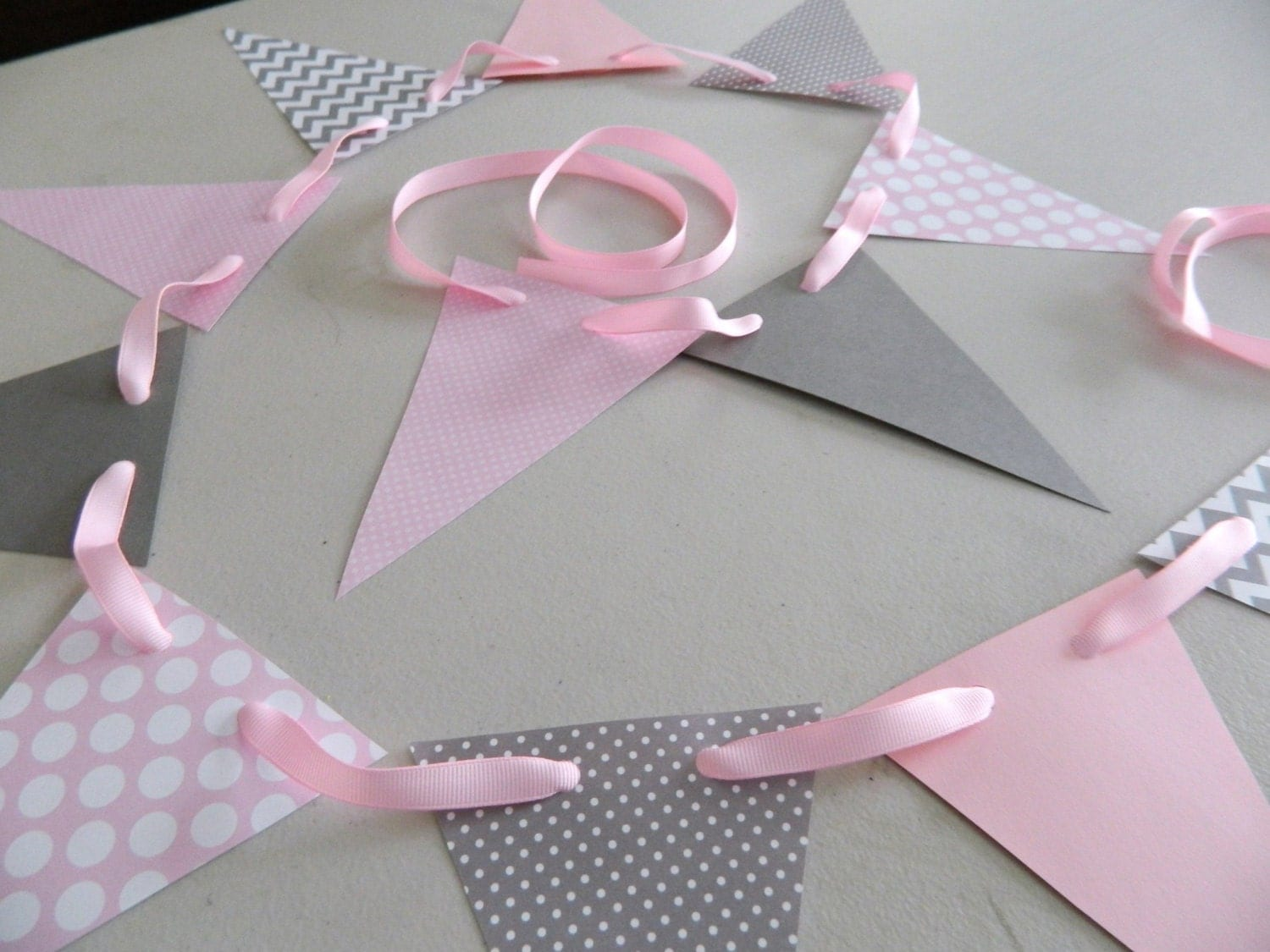 Baby shower decorations pink and gray chevron stripes paper - Baby shower chevron decorations ...