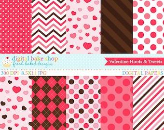 valentine digital papers stripes polka dot hearts - Valentine Hoots and Tweets Digital Papers