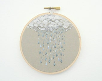 Spring Rain Embroidery Hoop Art - Made to Order