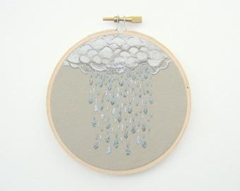 "Embroidery Hoop Art - Spring Rain - Nursery Decor - Made to Order 4"" Hoop"