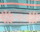 Camp Blanket Moss Green Gray & Pink Mid Century Trade Single Throw Rustic Bedding Find by AntiquesandVaria