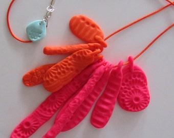 neon orange and pink china plate crockery necklace