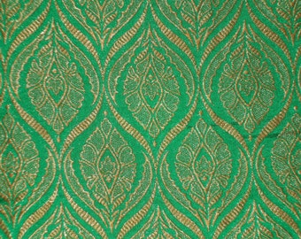Fat quarter indian green gold  Indian silk brocade fabric